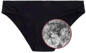 Culotte menstruelle contenant des nanoparticules d'argent