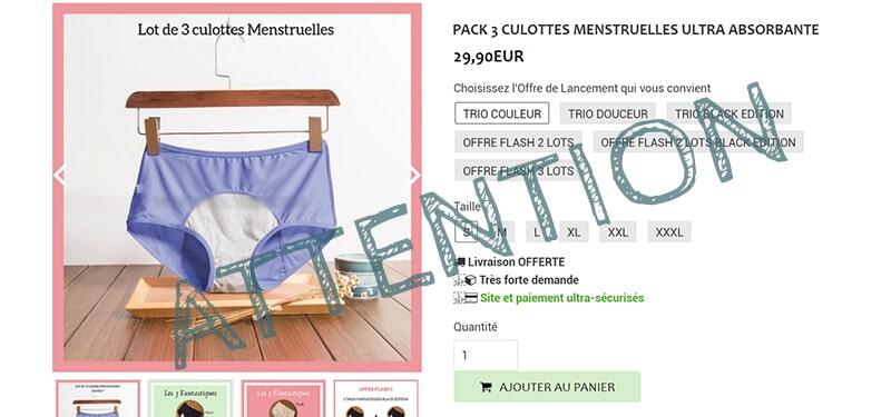 Culottes menstruelles : attention aux arnaques