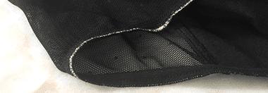 zoom sur les coutures du shorty menstruel Moodz